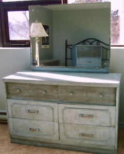 6-Drawer Double Dresser / Sideboard with Mirror - blue-green