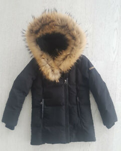 Mackage kids girls down jacket with fur collar and hood size 10
