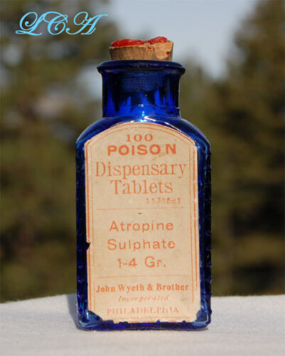 "Rare 2 1/2"" tall antique WYETH POISON bottle COBALT BLUE color EMBOSSED w/ LABEL"