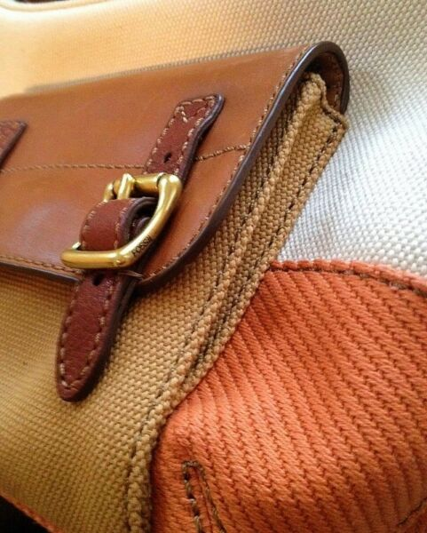 FOSSIL TATE SMALL HOBO ORANGE MULTI CANVAS LEATHER HANDBAG