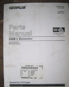 Caterpillar 325B L Excavator Parts Manuals - Volumes I, II & III