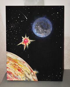 Outer Space Explosion Between Planets Painting on Canvas