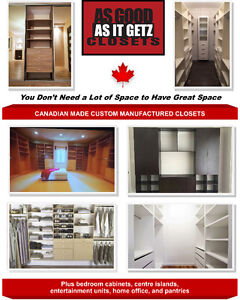 100% CANADIAN MADE CUSTOM CLOSETS FREE QUOTES! LIFETIME WARRANTY