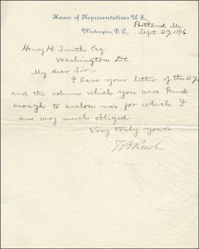 THOMAS B. REED - MANUSCRIPT LETTER SIGNED 09/29/1896