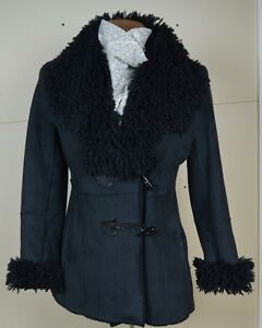 Coat Couture Black Faux Sheepskin Ladies Coat Size Small