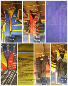 3 Large and 2 universal size adult lifejackets