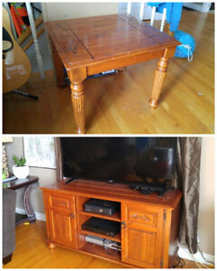 Matching solid wood entertainment and coffee table set.