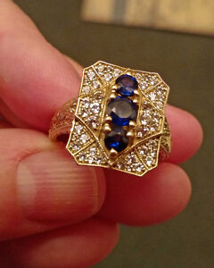 Generations 1912 Ceylon & White Sapphires 925 Silver Ring size 9
