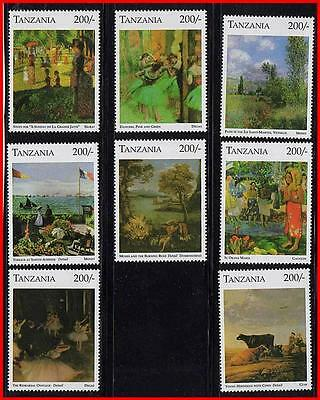 TANZANIA =great PAINTINGS MNH CV$12.00 MONET, DEGAS, GAUGUIN, CATTLE, ballet