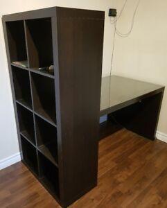 Bureau et rangement intégré, brun-noir (Ikea)