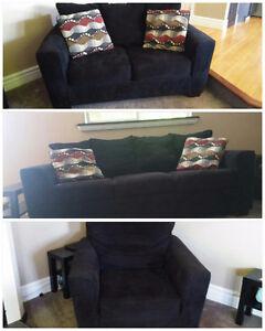 EUC Black Chenille furniture set