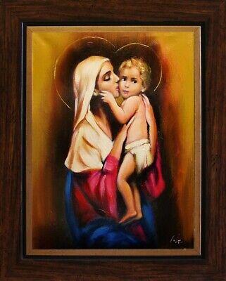 Religion Maria und Jesus Handarbeit Ölbild Bild Ölbilder Rahmen Bilder G05501