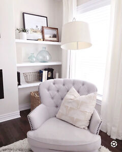 Selling two beautiful grey club chairs