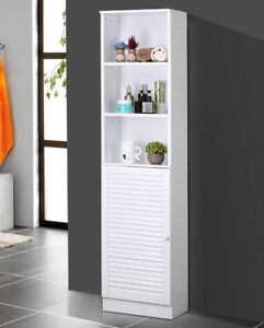 Tall Bathroom Tower Shelves Cabinet With Louvered Door Organizer  Storage,White