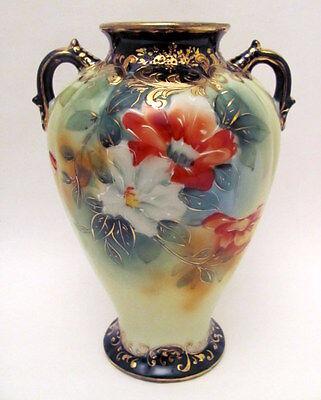 Excellent Antique Hand Painted Cobalt Nippon Poppy Vase Floral Decoration 1900