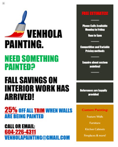 Fall Savings for Interior Jobs have arrived @ Venhola Painting!