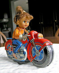 Motorcycle Rider-Japan friction Drive Tin Toy (1960's) Vintage