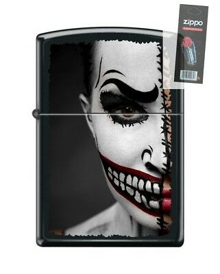 Zippo 218 Half Scary Day Of The Dead Halloween Make-up Lighter + FLINT PACK](Day Of The Dead Make Up)