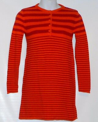 The Childrens Place Girls Long Sleeve Stripe Knit Sweater Dress Melon 6X/7 NWT