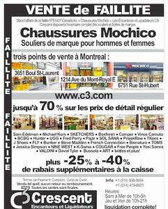 Mochico Shoes- Liquidation de Faillite/ Bankruptcy Liquidation