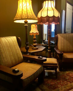 Remarkable antique solid wood chairs, table and lamps