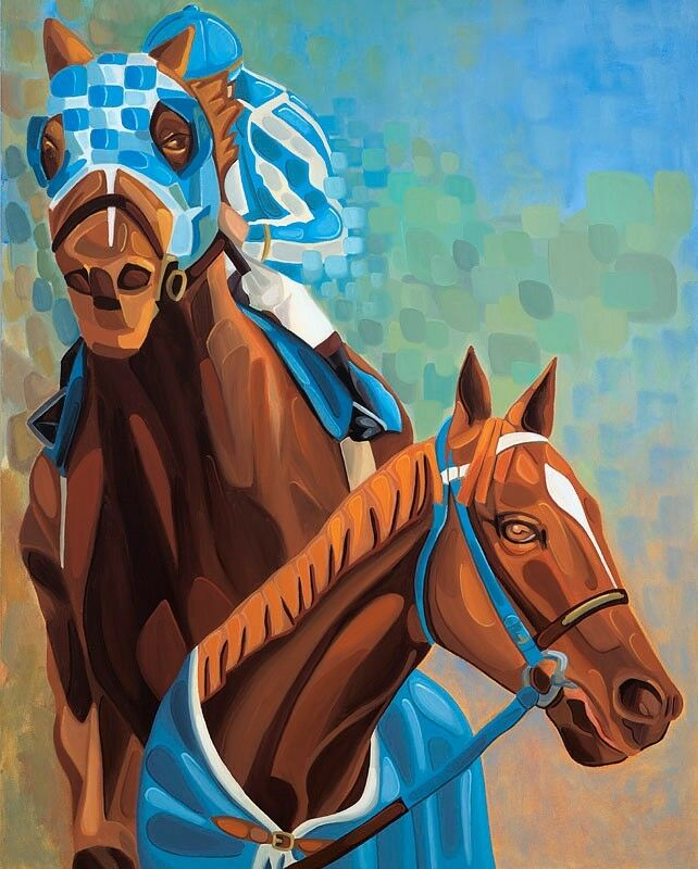 Horse Racing Art Secretariat Print Canvas Equine Jockeys NO RESERVE SFASTUDIO