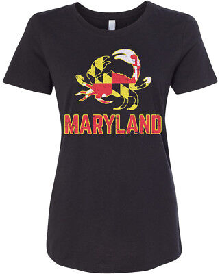 Maryland State Flag Crab Emblem Womens Fitted T Shirt Symbol Blue