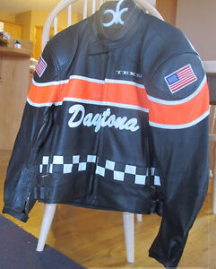 Leather Motorcycle Jacket, Mens Small