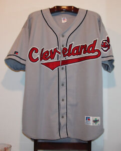 RUSSELL AUTHENTIC CLEVELAND INDIANS ROAD GREY BASEBALL JERSEY 52