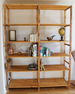 IKEA IVAR 2 sections adjustable shelves in solid pine fixed