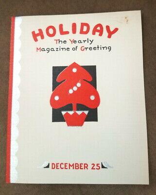 Vintage Christmas card, magazine theme holiday music, art travel & books, unused ()