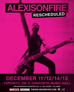 Alexisonfire 2 tickets for recheduled show December 11th.