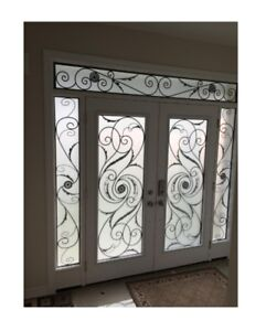 Glass door INSERTS DECORATIVE GLASS STAINED WROUGHT IRON GLASS