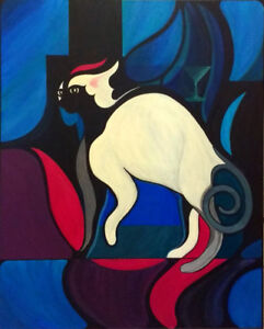 Original Sphynx Abstract Painting by Local Artist
