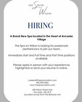 HIRING AESTHETICIAN - The Spa on Wilson in Ancaster