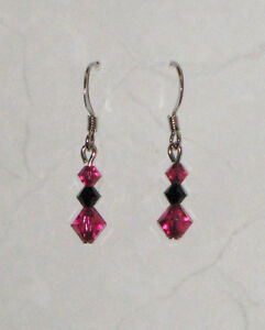 Fucshia Pink & Black Swarovski Crystal Earrings
