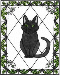 Black Cat Stained Glass Painting