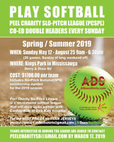 Charity Coed Softball League Now Accepting Teams for 2019!