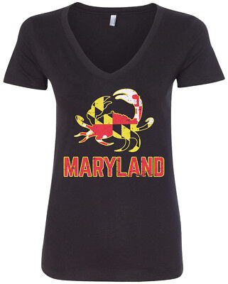 Maryland State Flag Crab Emblem Womens V Neck T Shirt Symbol Blue