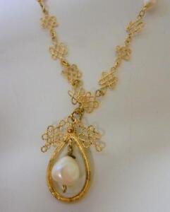 Antique-Chinese-Gold-Over-Sterling-Silver-Knotted-Knot-Pearl-Amulet-Necklace