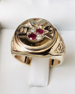 BMW Gold Ring with 2 Diamonds and 2 Rubys