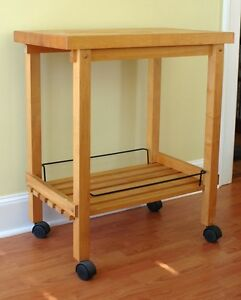 wood butcher block kitchen rolling cart utility table ebay. Black Bedroom Furniture Sets. Home Design Ideas
