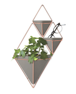 Umbra Trigg Small & Large Hanging Planter Wall Decor Copper