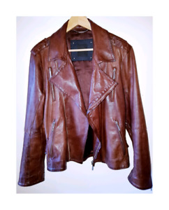 CoSTUME NATIONAL - Manteau de cuir marron / Brown leather biker