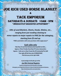 Joe Rich Used Horse Blankets and Tack Emporium.