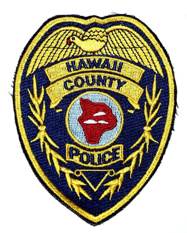 "HAWAII COUNTY HAWAII HI Sheriff Police Patch BIG ISLAND OUTLINE 4"" ~"