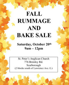 Church Rummage & Bake Sale SAT. OCT. 20th  9am-Noon