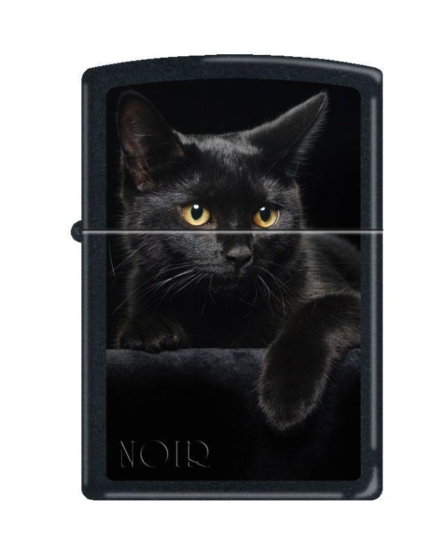 Zippo 5134, Black Cat, Black Matte Finish Lighter, Full Size