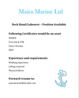 Deck Hand / Labourer - Position Available