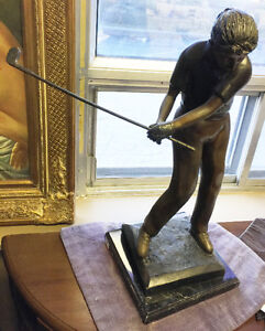"Solid bronze statue ""The golf player"""